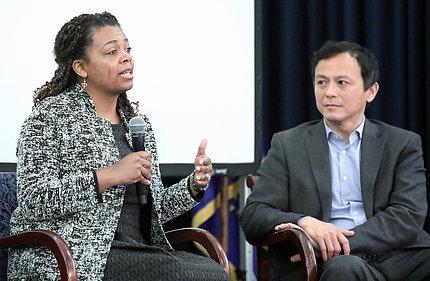 Drs. Crear-Perry and Lu speak at symposium.