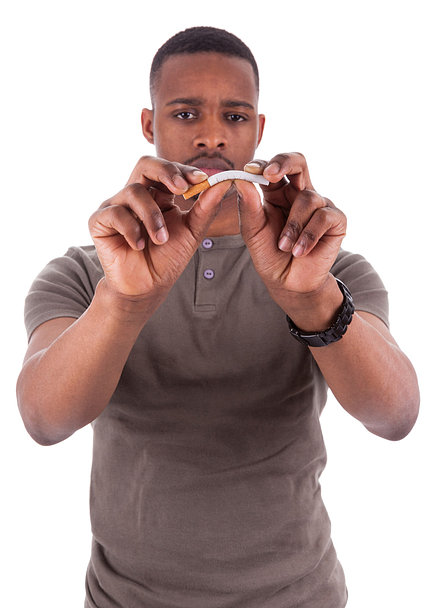 Man bends cigarette with both hands