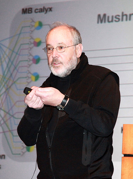 Rubin gesturing during lecture, with slide projected behind him