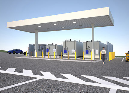 Rendering of gas station pumps