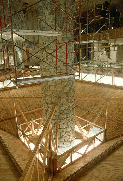 A stone chimney 8 feet in diameter