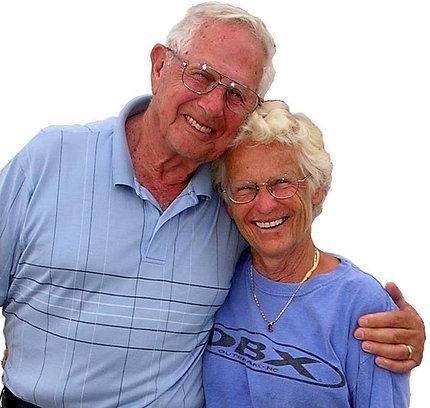 Len and Doris smile into camera