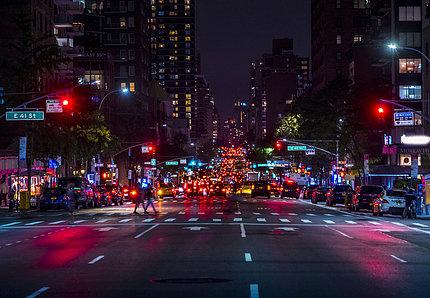 Well-lit urban night scene