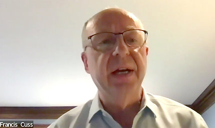 Dr. Cuss speaks on video.