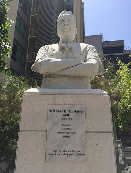DeBakey statue on college campus in Lebanon