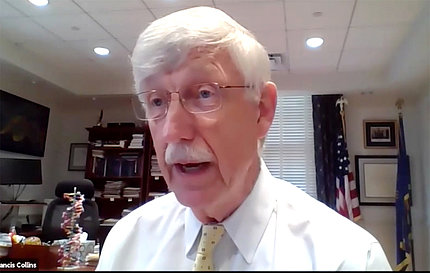 Screenshot of Collins during virtual lecture presentation