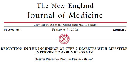 screenshot of Diabetes Prevention Program results published in NEJM in 2002