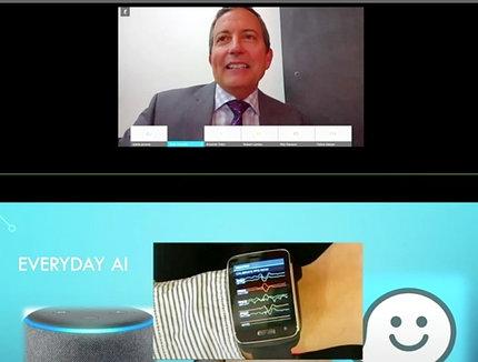 "Split screen shot of Horvath describing a ""mood watch"" device"