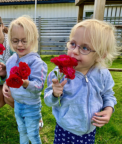 Isabella and Julia, wearing light blue hoodies, on the lawn smelling red roses.