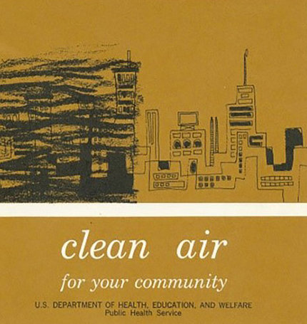 Cover of Clean Air booklet shows drawing of a city skyline with dark, ominous smog approaching from the left.