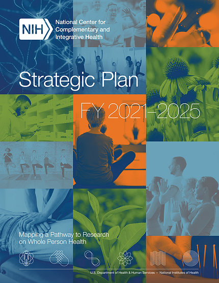 The cover of the strategic plan shows people meditating and doing yoga and getting massage as well as plants and flowers.