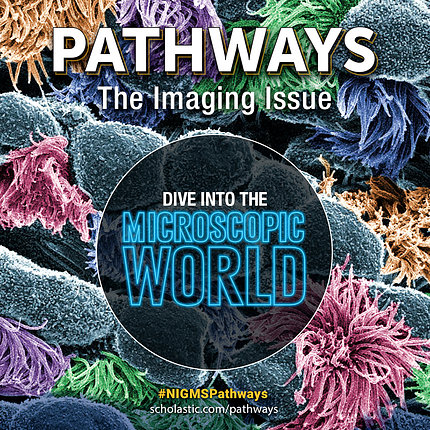 Graphic featuring multicolor scientific organism image with Pathways headline and title overlaid