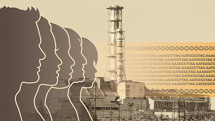 In image showing the profiles of people next to a nuclear reactor, beside the repeated letters (ACGT) of the DNA code.