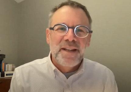 A screenshot of Michael Ungar, speaking at virtual lecture