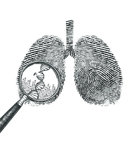 line illustration of lungs with magnifying glass hovering over left lung