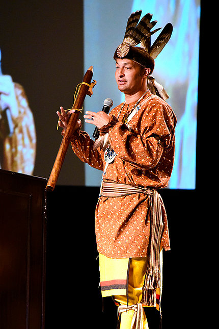 John Oxendine demonstrates the role of music in Lumbee tribal life.