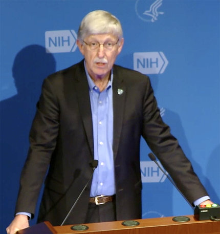 Dr. Francis Collins speaks at a microphone