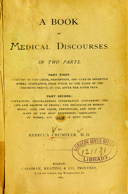 Yellowed cover page of Crumpler's A Book of Medical Discourses, 1883