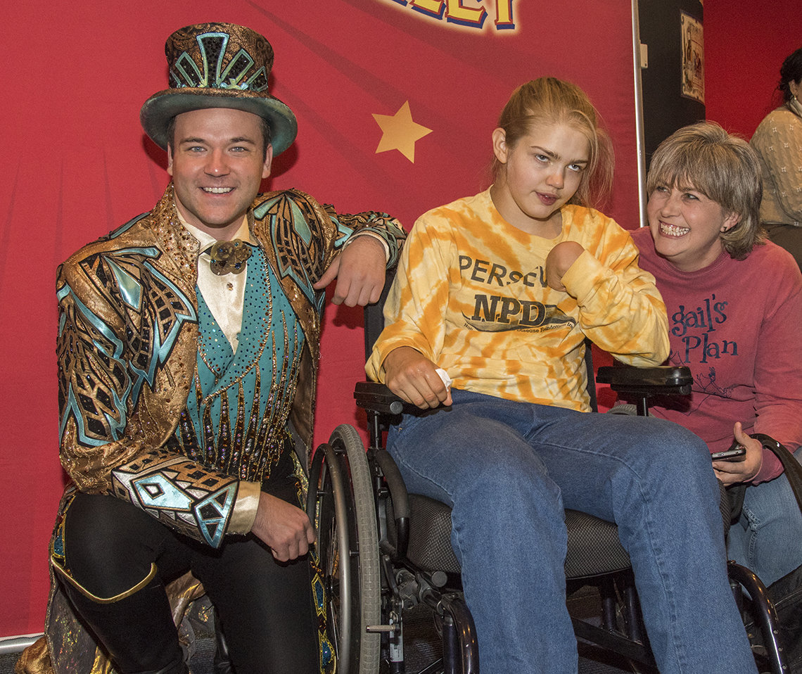 Ringmaster meets patient and her mom.