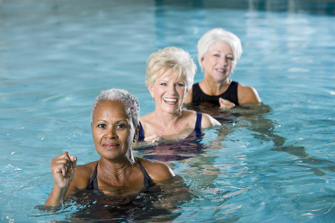 Older women in swimming pool