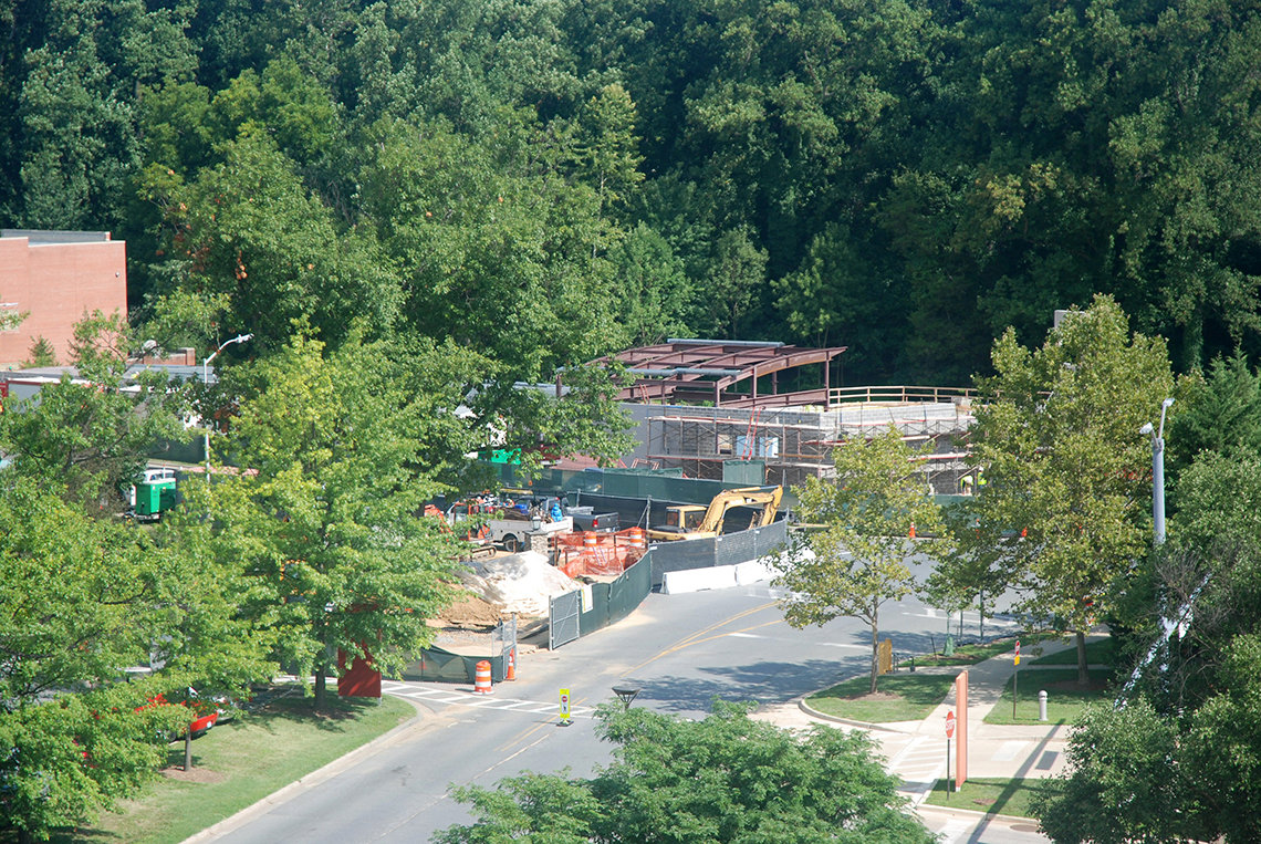 Overhead view of construction projects