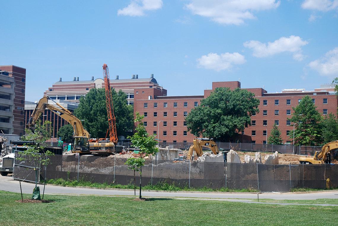 Construction site hole with crane
