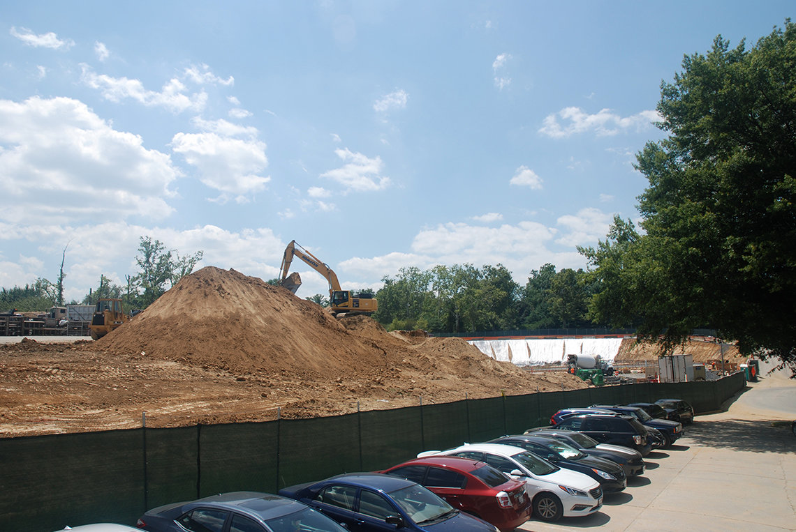 Dirt mound at construction site