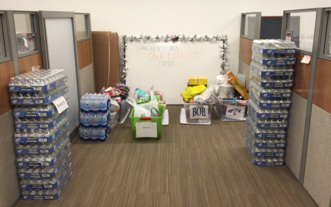 Bottled water and non-perishable items donated to the inn