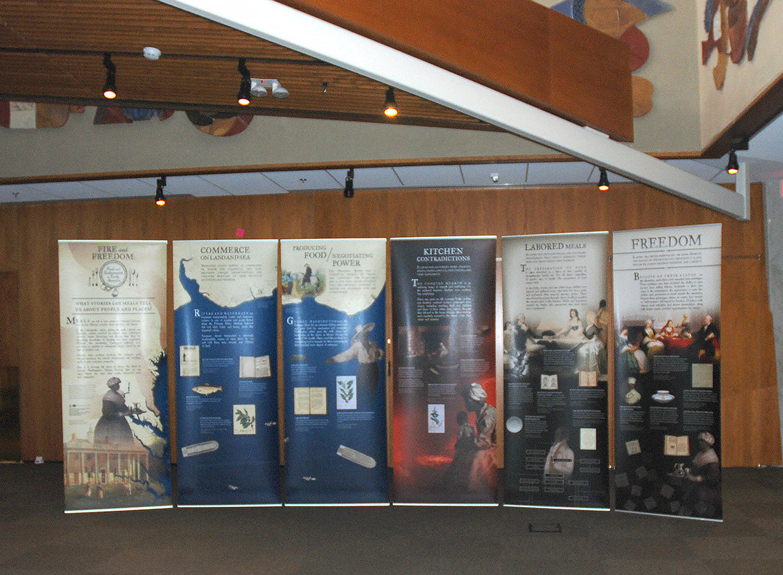 Six large panels featuring information, photos  as part of the traveling exhibit