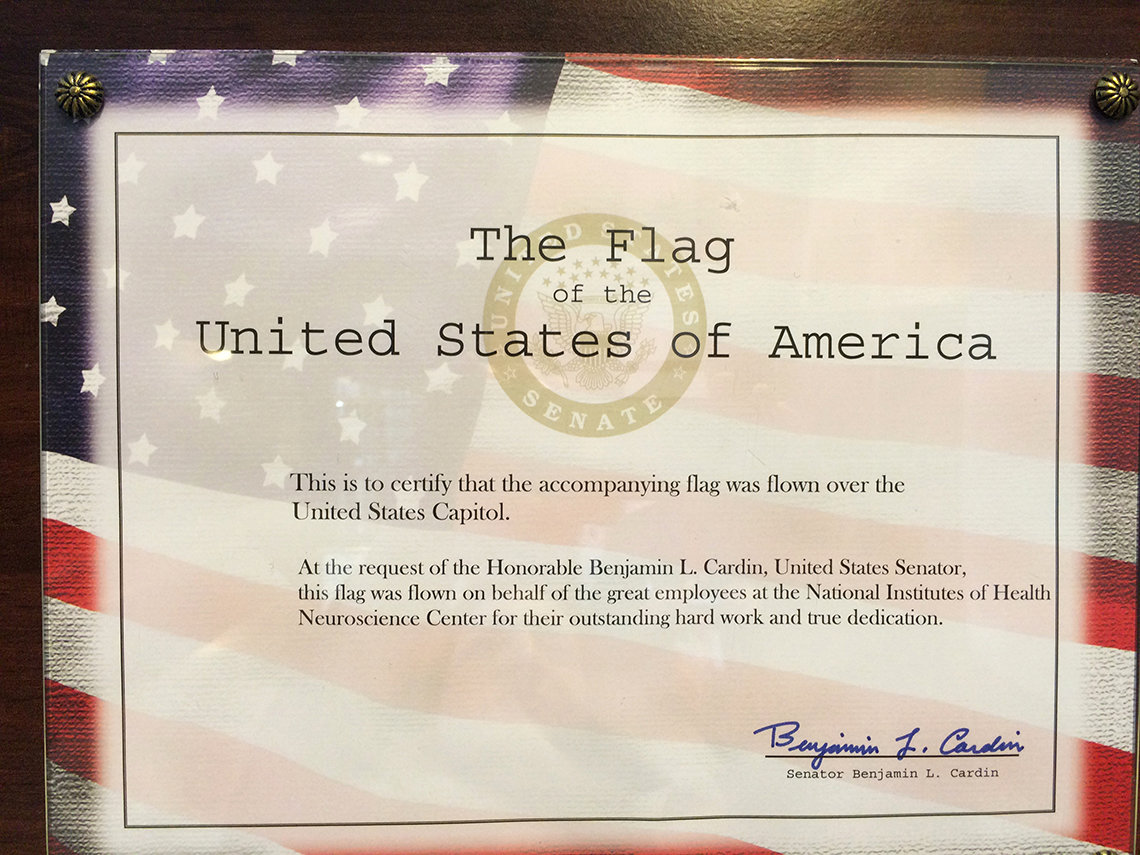 A certificate stating that the new flag had previously flown over the U.S. Capitol dome.