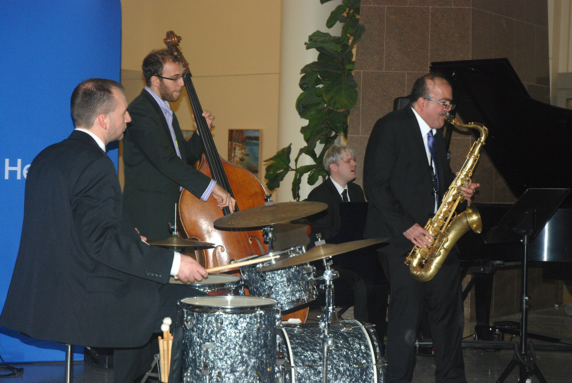 Jazz combo plays in the hospital atrium.