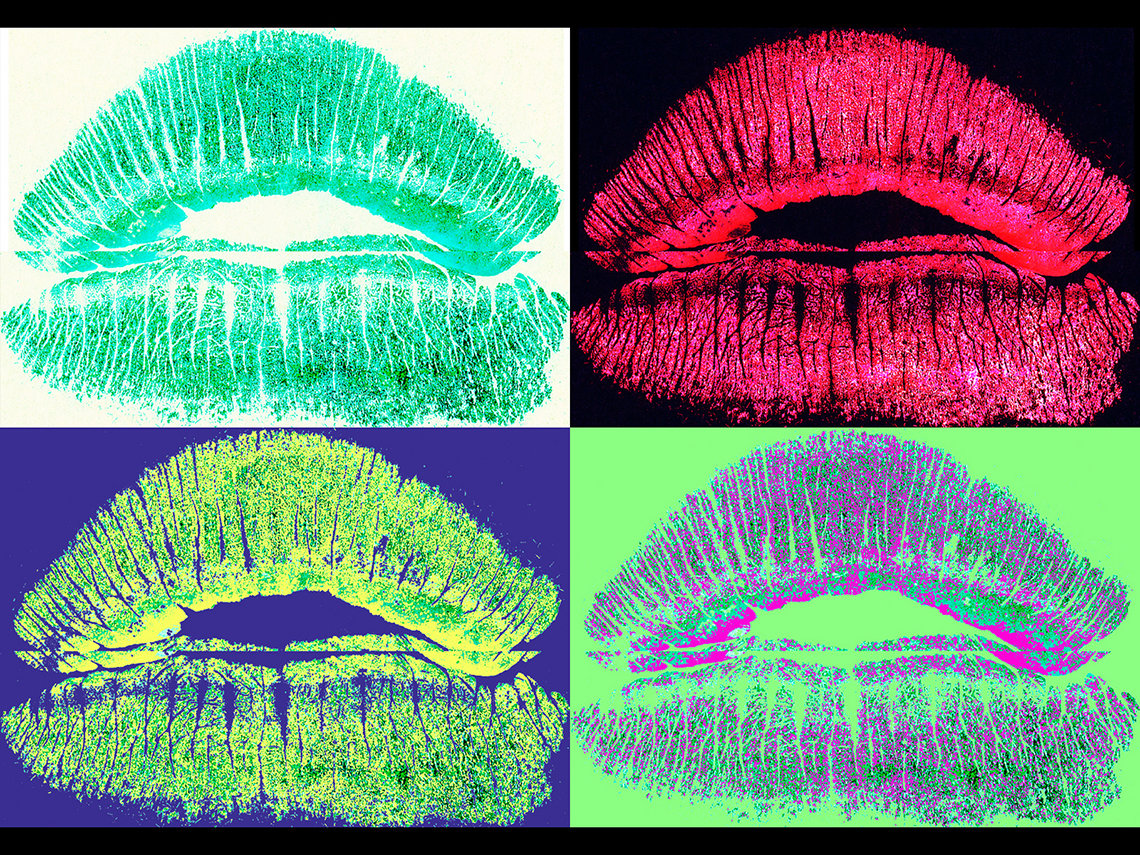 Four prints of lips in four different colors and backgrounds