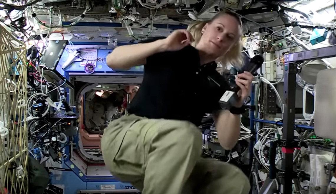 Rubins floats around International Space Station.
