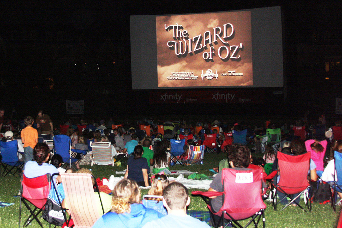 People sit on the lawn watching the Wizard of Oz.