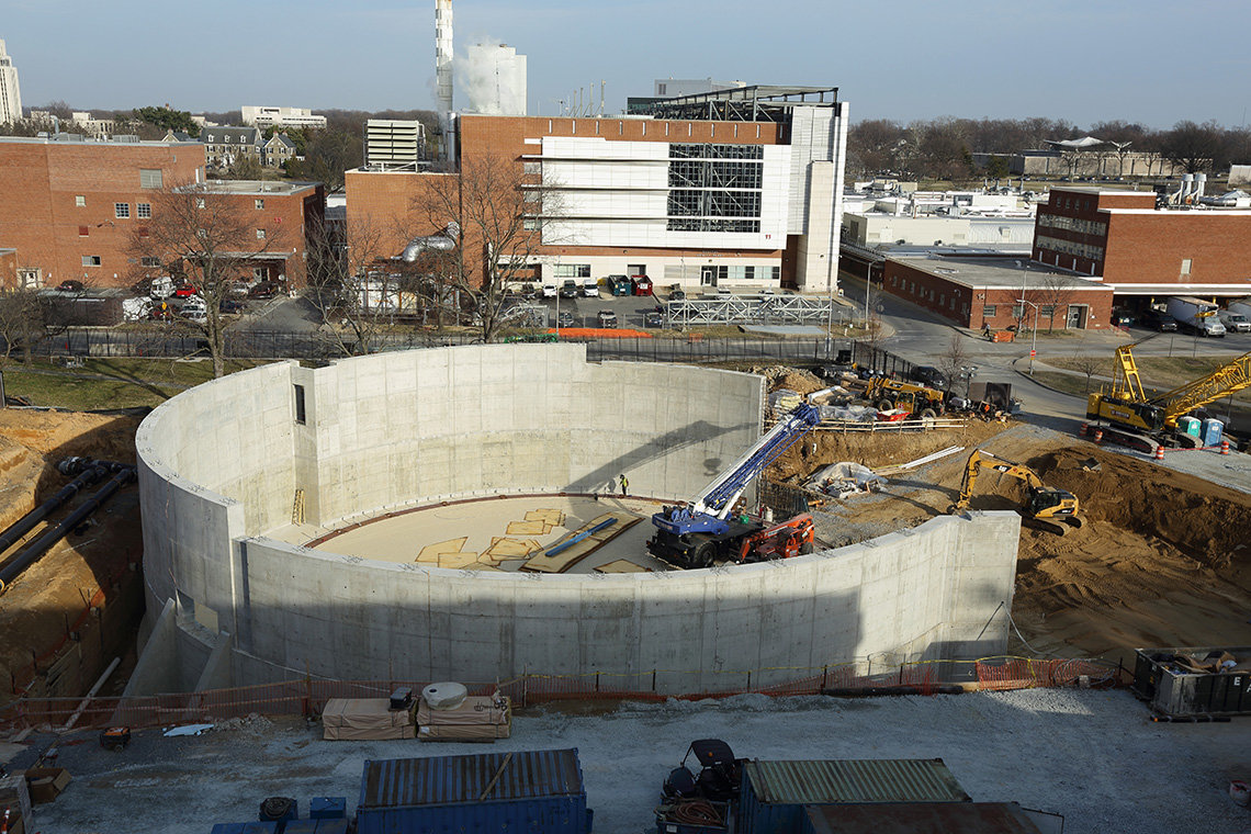 Construction of circular concrete wall nearly complete