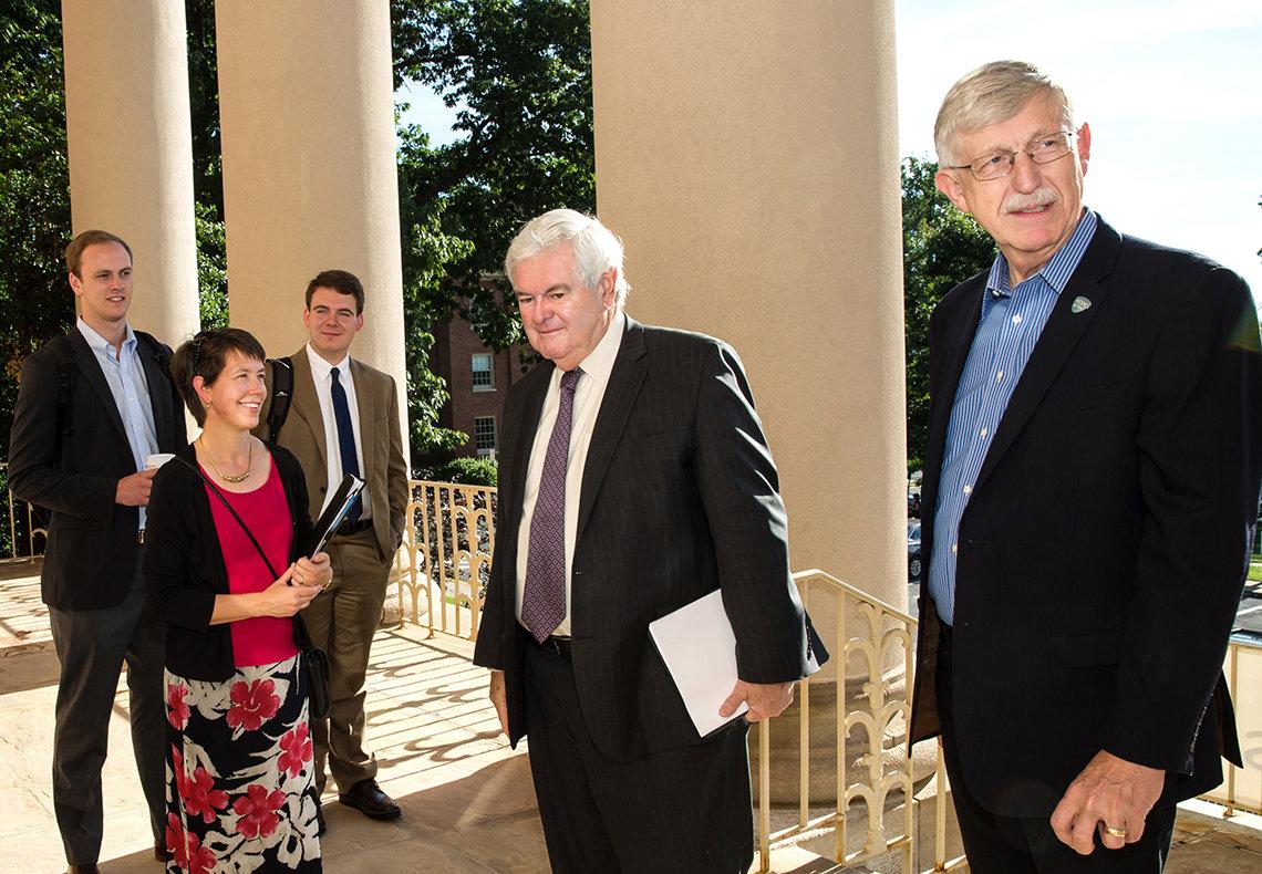 Gingrich arrives at Bldg. 1