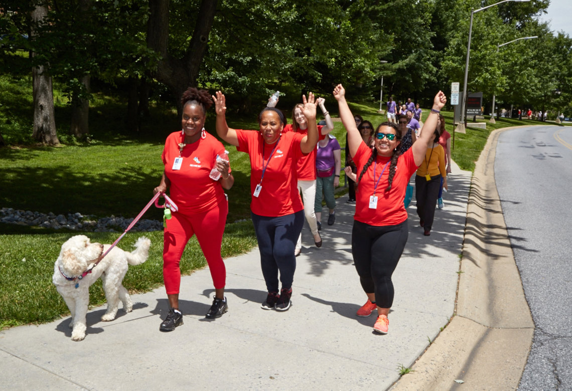 Staff from the Children's Inn walk with their therapy dog, Zilly