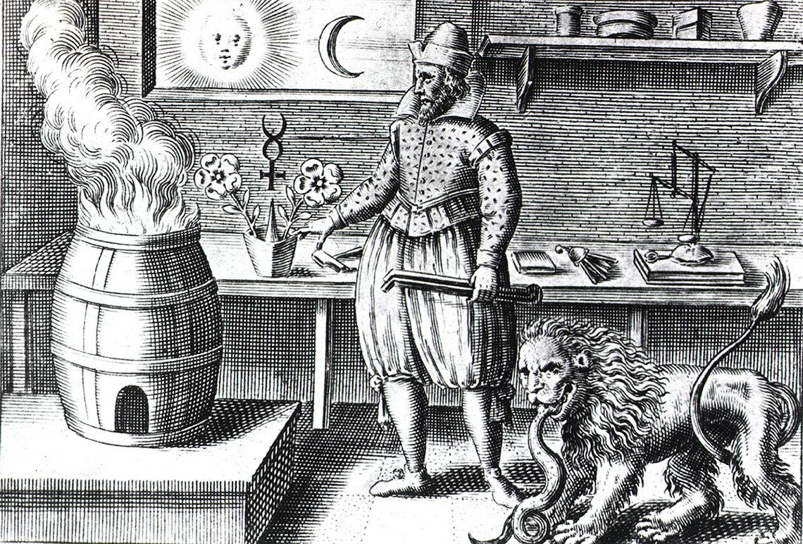 Illustration of man wearing knickers tending a fire in a barrel