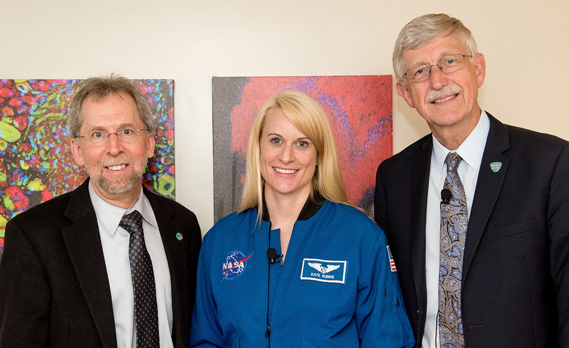 NHGRI director Dr. Eric Green with astronaut Dr. Kate Rubins and Dr. Collins