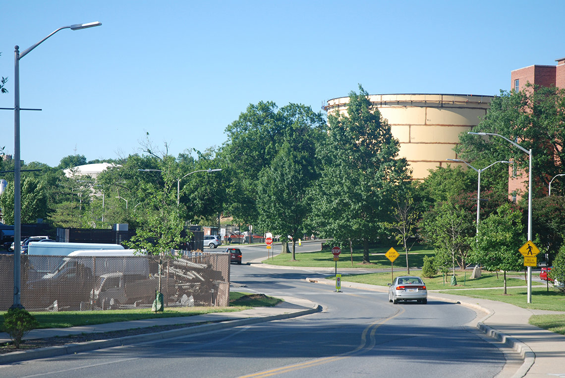 Two large water tanks