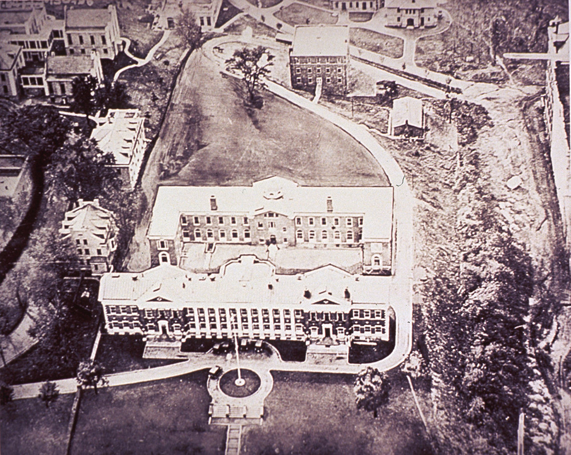 An aerial view of buildings that originally housed NIH