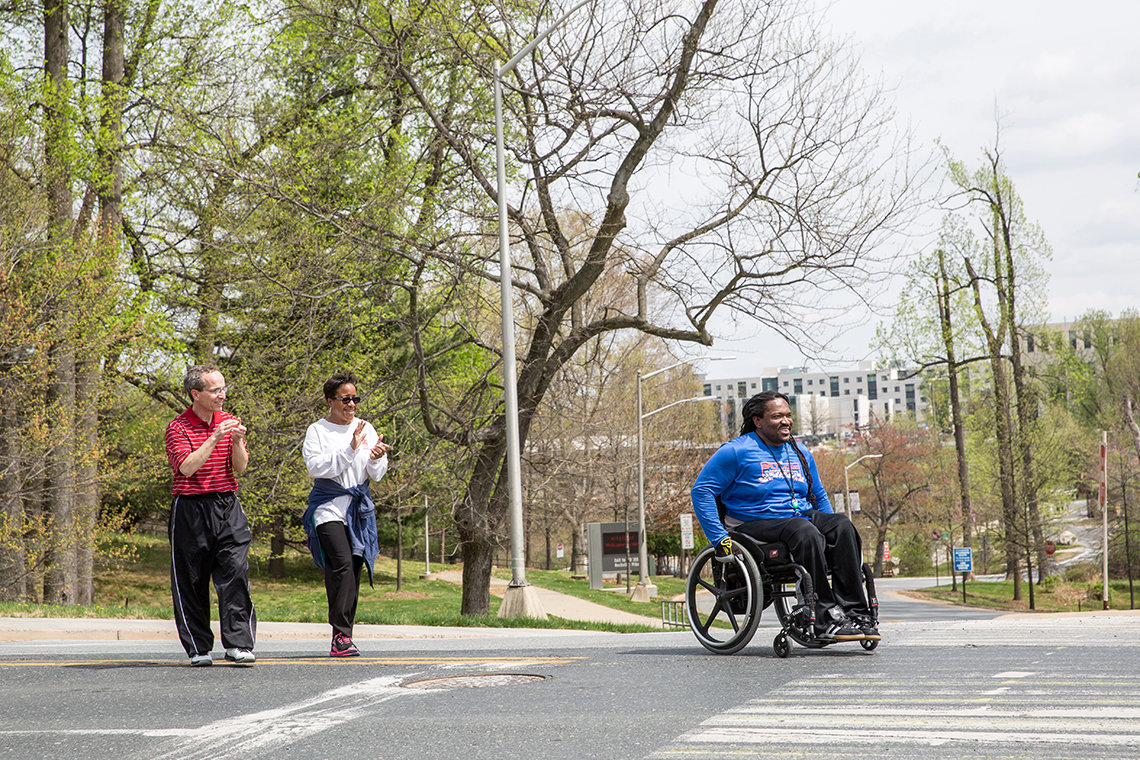 Participants walk and roll