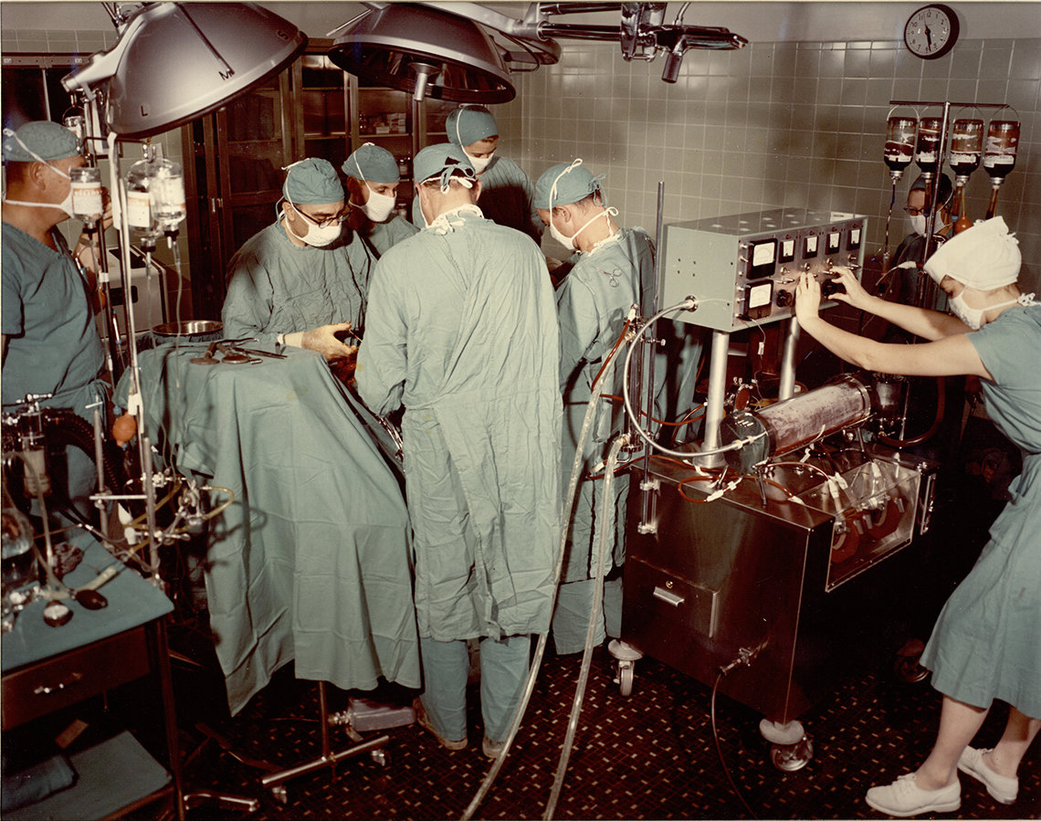 DeBakey and surgical team at work