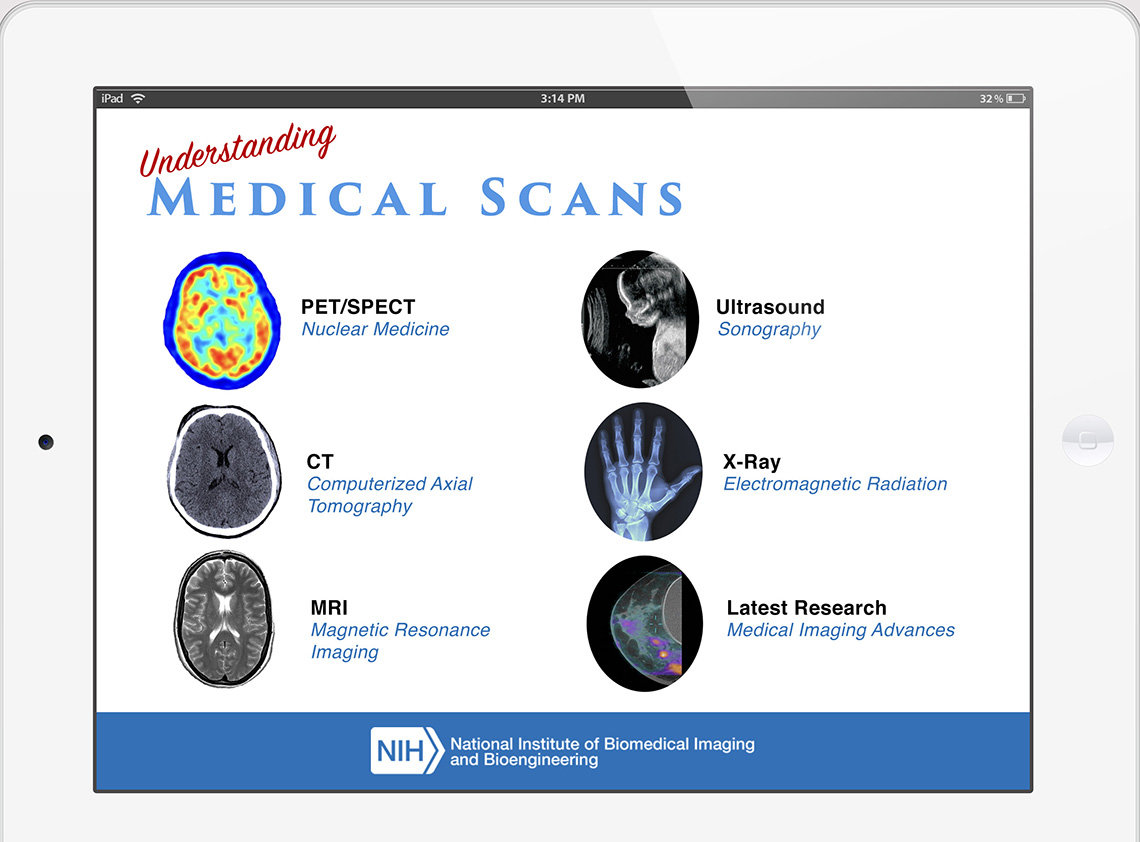 An image of NIBIB app showing pictures that link to more info about MRI, ultrasound and other medical scans