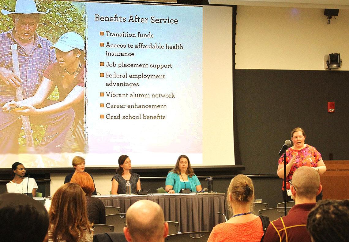 Panelists speak to audience