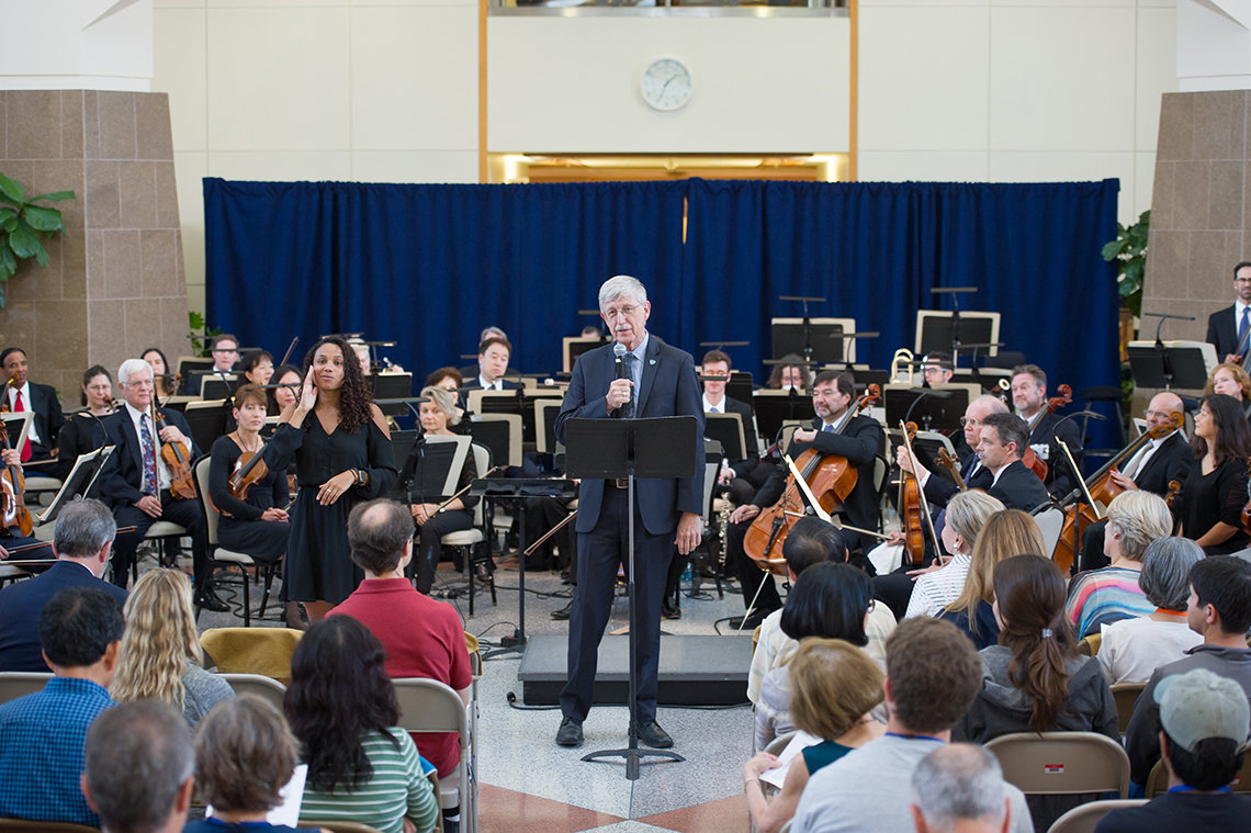 Dr. Collins introduces orchestra.