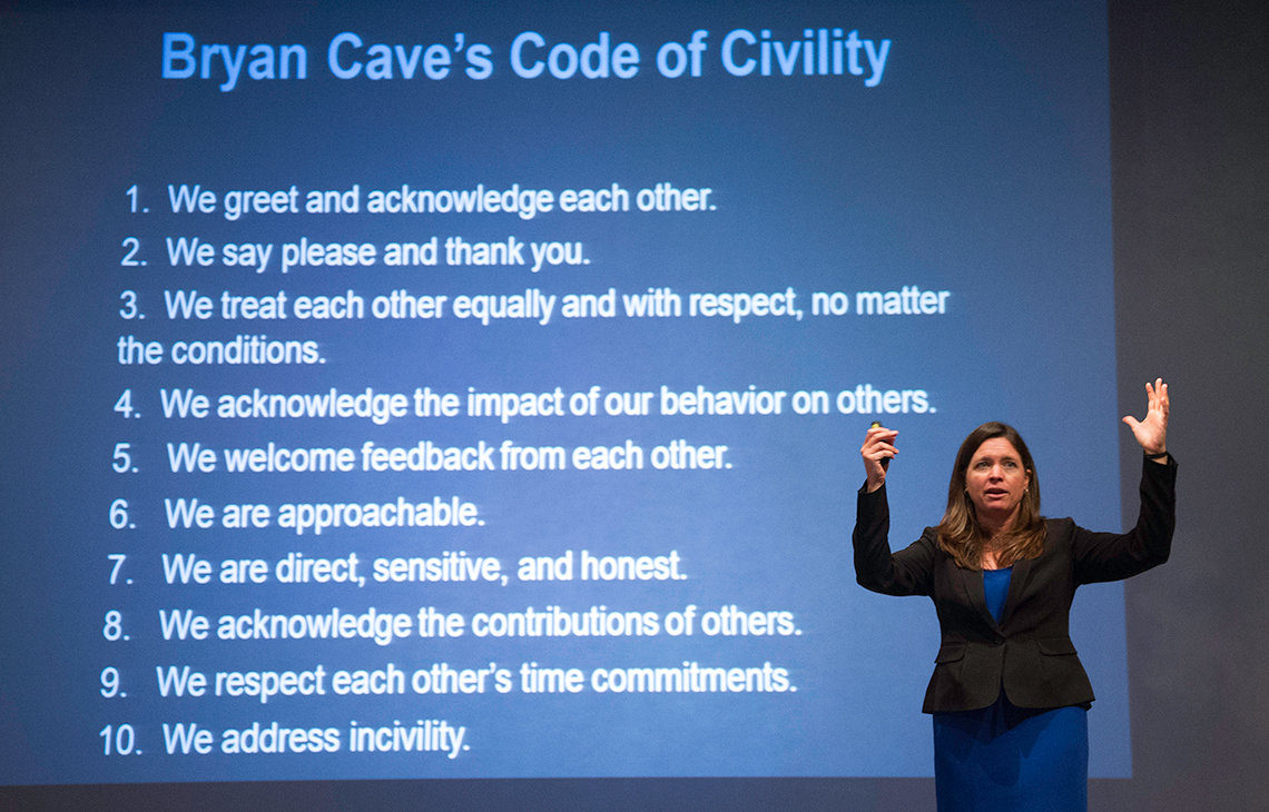 Dr. Christine Porath talks about Bryan Cave's Code of Civility.