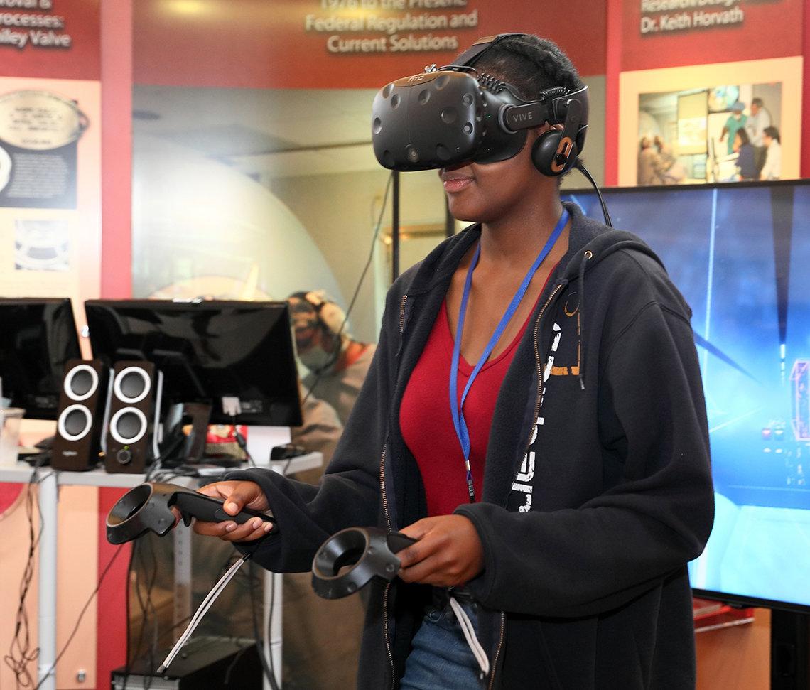 A virtual reality demonstration.