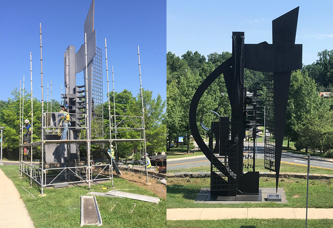 """The """"Sky Horizon"""" sculpture, before and after repairs."""