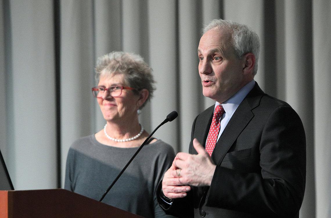 Atkins and Lipska at the podium